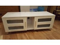 Gloss White TV Stand Media Storage Cabinet with chrome legs