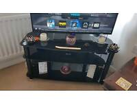 Gloss black TV/DVD set top unit