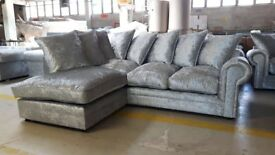 Brand new Crushed Velvet Corner Sofa Left/Hand