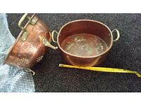 Antique french copper seive and roasting pan