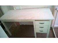 White 3 drawer 1950's desk.