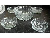 Cut glass trifle dish with 4 small dishes