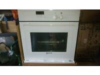 neff single electric oven & neff gas hob in white