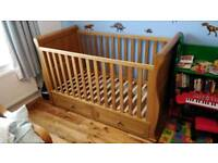 Baby Sleigh Cot Bed And Changing Drawers
