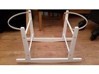 White rocking moses basket stand