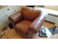 Free brown leather arm chair, collection only