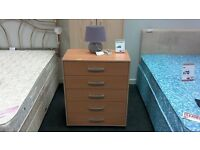 Chest of 5 drawers in beech - British Heart Foundation
