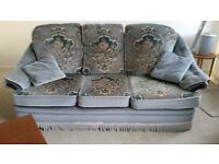 3 piece sofa suite: 1 x large sofa, 1 x manual recline chair, 1 x chair, 1 x footstool with storage