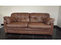 Designer Brown leather 3 seater + 2 seater sofas (68) £799