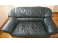 DFS black 2 seater leather sofa