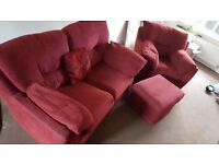 High quality red 2 piece fabric sofa with footstool (and dimensions!)