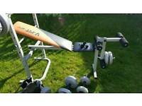 Exercise bench with leg curl and weights