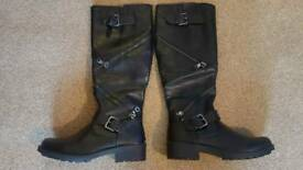 lovely black faux leather chunky knee high rock biker style boots size 5.5 brand new in box