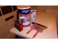 Polyfilla + 6 L of white paint + paint tools (brushes and putty knife)