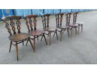 Mid Century Set Of Six Ercol Dining Chairs,with table ,Possible Delivery