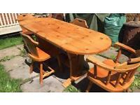 Large solid pine dining table - no chairs - delivery available
