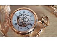 MOUNT ROYAL Mechanical Half Hunter Matt Finish Gold Plated Pocket Watch