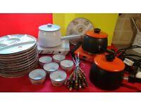 ELECTRIC FONDUE complete set 3 pots, 2 hotplates, 12 special plates, 6 sauce pots