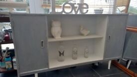 Shabby Chic Sideboard in grey and white with 2 cupds and one shelf exc con collection only