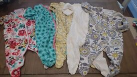 5 x Beautiful Next girls sleepsuits. Age up to 3 months