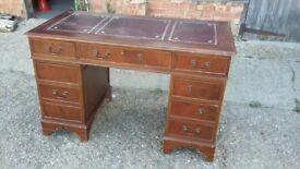 Vintage Mahogany Pedestal Kneehole Desk.
