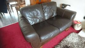 Chocolate Brown 2-Seater Leather Sofa