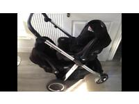 Oyster Max Tandem Pram, Two Joie Gemm Car Seats and Accessories (TWINS)