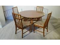 Round Drop Leaf Table and 4 Chairs
