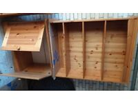 Solid pine cupboard and bookcase