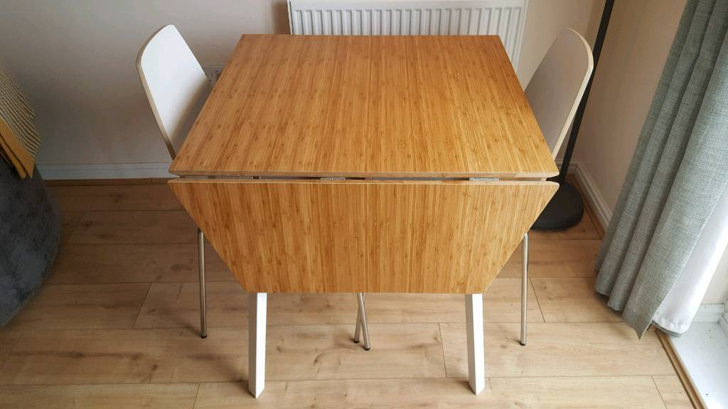 Modern bamboo topped drop leaf table with 2x chairs ikea for Ikea bamboo dining table