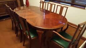 veneer finished expandable dining table with chairs