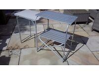 Folding aluminium barbecue table
