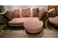 DFS Brown/Beige 4 Seater Cushion Back Lounger Sofa plus matching Large Swivel Chair