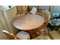 Solid wood table plus 3 chairs