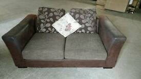 Brown leather 2 seater sofa free delivery