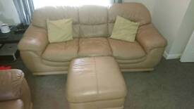 Baige suite for sale 3 seater and 2 single seater and a footstool, good condition real leather