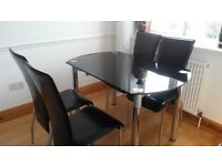 Dansk Palermo black glass & Chrome Dining table & Milan 4 chairs