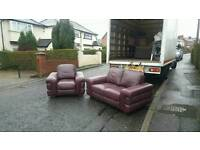 2 and 1 seater sofa in oxblood hyde leather mint mint condition £195 delivered