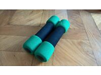 TWO PADDED EXERCISE WEIGHTS DUMBBELLS - 1.25 KG EACH