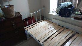 White single metal bed