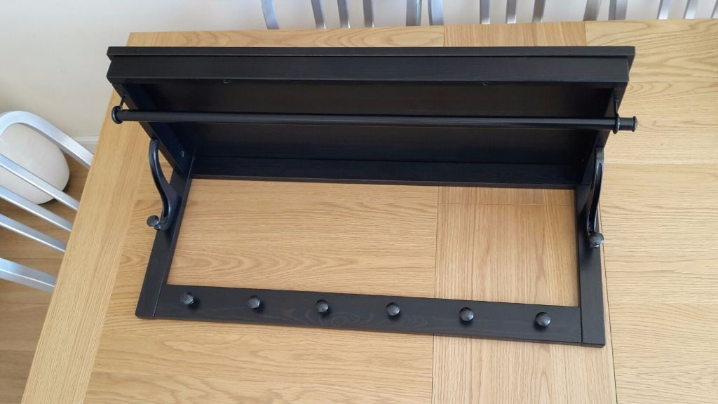Black brown ikea hemnes hat rack coat rail hooks in for Ikea coat and hat rack