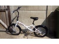 "Integra Safari 6 Speed 20"" Wheel White Folding Bike, a year old and pick up only."