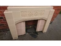 Vintage ceramic and cast iron fire surround and hearth