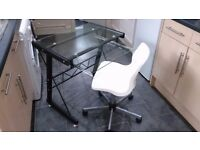 Glass desk retro chair 40ono