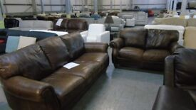 PRE OWNED 3 + 2 Seater in Brown Vintage Leather
