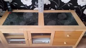 Entertainment Unit in Rubber wood with Black Granite Inlay