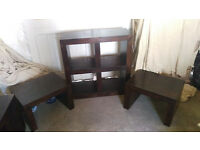 Solid wood nest of tables and Book shelf