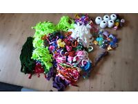Large amount of coloured nylon, wire and cotton for making nylon flowers.