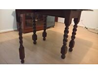 OFFER! Beautiful Dark Wood Antique Drop Leaf Dining Table 6 seats