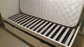 Single Bed with Mattress and Storage Boxes